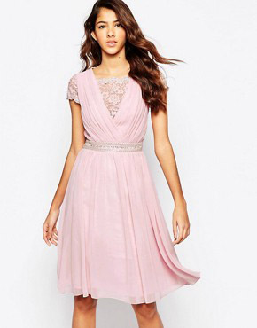 photo Skate Dress with Lace Overlay by Laced In Love, color Pink - Image 1