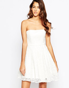 photo Strapless Lace Dress by Laced In Love, color White - Image 1