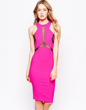 photo Electra Midi Dress with Mesh Panel by Lashes of London, color Pink - Image 1