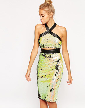 photo Friday Night Sequin Dress with Cut Out by Lashes of London, color Green Irridescent - Image 1