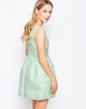 photo Skater Dress In Jacquard by Lashes of London, color Green - Image 2