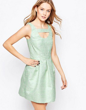 photo Skater Dress In Jacquard by Lashes of London, color Green - Image 1