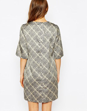 photo Dress In Grid Print by Le Mont St Michel, color Greige Ground - Image 2