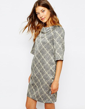 photo Dress In Grid Print by Le Mont St Michel, color Greige Ground - Image 1