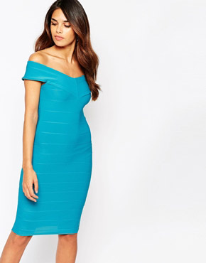 photo Ava Off Shoulder Bandage Dress by Lipstick Boutique, color Blue - Image 1