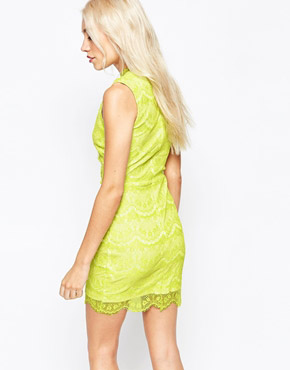 photo Lace Dress with Wrap Front by Lipstick Boutique Petite, color Lime Cream - Image 2