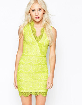 photo Lace Dress with Wrap Front by Lipstick Boutique Petite, color Lime Cream - Image 1