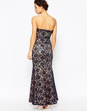 photo maxi Dress In Lace by Lipstick Boutique Petite, color Navy - Image 2