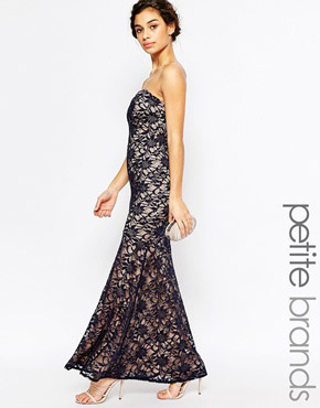 photo maxi Dress In Lace by Lipstick Boutique Petite, color Navy - Image 1