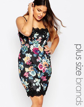 photo Floral Bodycon Cami Dress by Lipstick Boutique Plus, color Black Floral - Image 1