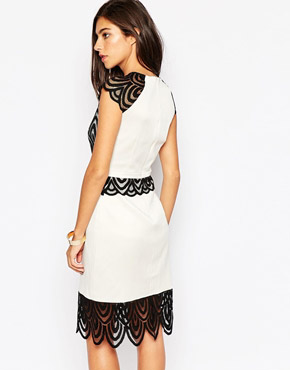 photo Natalie Dress with Lace Detail by Little Black Dress, color Black and White - Image 2