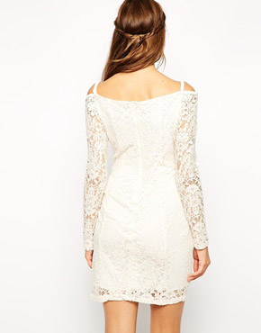 photo Maggie Off Shoulder Lace Dress by Lydia Bright, color Cream - Image 2