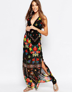 photo Floral Maxi Dress with Border Print by Mela Loves London, color Black - Image 1