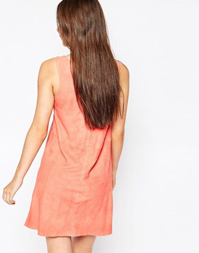 photo Beaulieu Drape Leather Dress by Muubaa, color Coral - Image 2