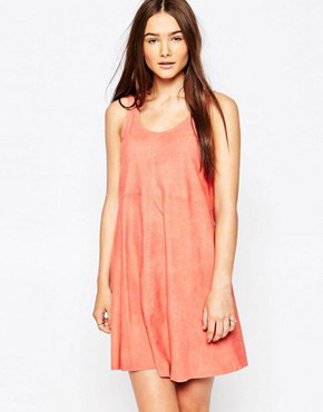 photo Beaulieu Drape Leather Dress by Muubaa, color Coral - Image 1