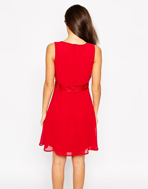 photo Sleeveless Wrap Front Skater Dress by Object, color Rio Red - Image 2