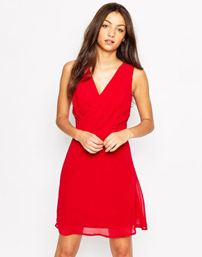 photo Sleeveless Wrap Front Skater Dress by Object, color Rio Red - Image 3