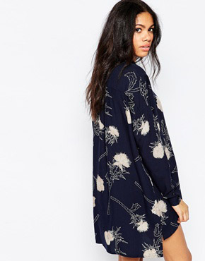 photo Thistle Print Shirt Dress In Navy by Pieces, color Navy - Image 2
