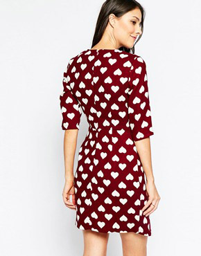 photo Nancy Heart Dress with Asymmetric Skirt by Poppy Lux, color Burgundy White - Image 2