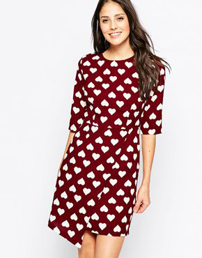 photo Nancy Heart Dress with Asymmetric Skirt by Poppy Lux, color Burgundy White - Image 1