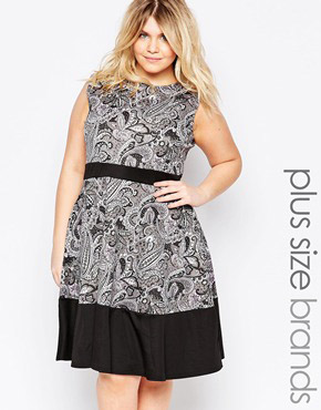 photo Skater Dress with Contrast Band In Paisley Print by Praslin Plus, color Multi - Image 1