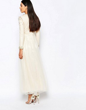 photo Maxi Dress with Spike Embellishment by Rare Opulence, color Cream - Image 2