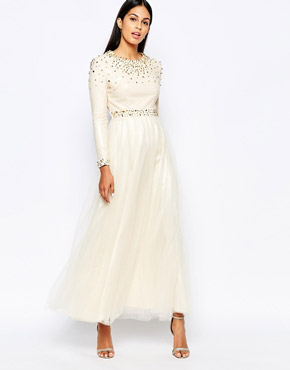 photo Maxi Dress with Spike Embellishment by Rare Opulence, color Cream - Image 1