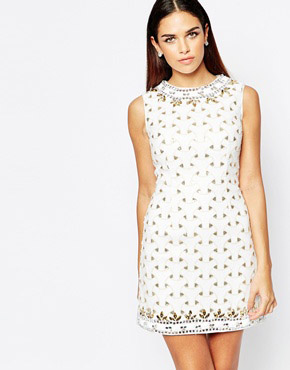 photo Shift dress with Sequin and Jewel Embellishment by Rare Opulence, color White - Image 1