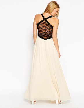 photo Plunge Maxi Dress with Contrast Lace Panels by Rare, color Cream Black - Image 2