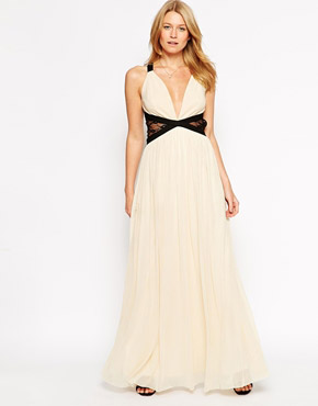 photo Plunge Maxi Dress with Contrast Lace Panels by Rare, color Cream Black - Image 1