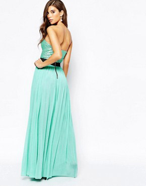 photo Sweetheart Bandeau Maxi Dress with Sequin Top by Rare, color Mint Green - Image 2