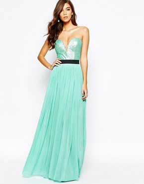 photo Sweetheart Bandeau Maxi Dress with Sequin Top by Rare, color Mint Green - Image 1