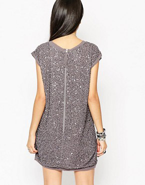 photo Rock & Religion All Over Embellished Tunic Dress, color Grey - Image 2