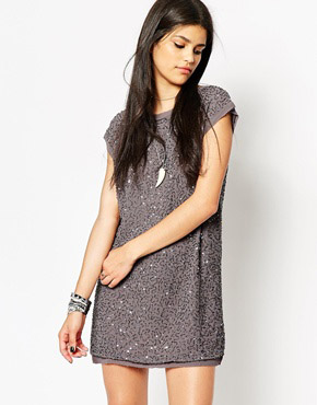 photo Rock & Religion All Over Embellished Tunic Dress, color Grey - Image 1