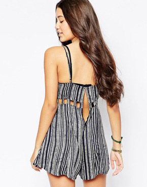 photo Striped Sundress with Cut Out Detail by RVCA, color Blue Crest - Image 2
