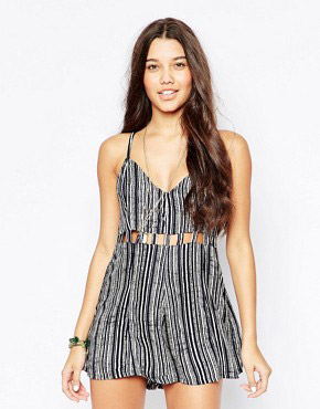photo Striped Sundress with Cut Out Detail by RVCA, color Blue Crest - Image 1