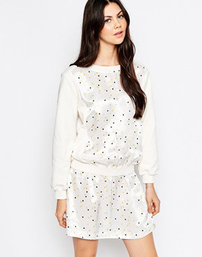 photo Drop Hem Dress In Lightbulb Print by See by Chloe, color White - Image 1