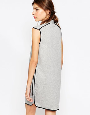 photo Jersey Dress with Grey Contrast Piping by See by Chloe, color Black and Grey - Image 2