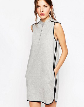 photo Jersey Dress with Grey Contrast Piping by See by Chloe, color Black and Grey - Image 1