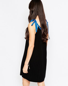 photo Pleated Knit Dress with Contrast Tie Top by See by Chloe, color Black - Image 2