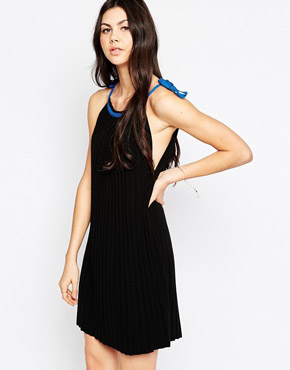 photo Pleated Knit Dress with Contrast Tie Top by See by Chloe, color Black - Image 1