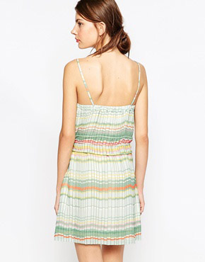 photo Pleated Striped Dress with Tassle Tie by See by Chloe, color Green - Image 2