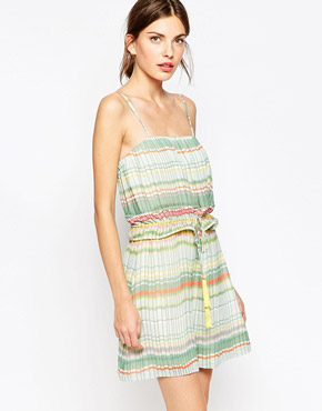 photo Pleated Striped Dress with Tassle Tie by See by Chloe, color Green - Image 1