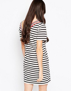 photo Striped T-shirt Dress with V Trim by See by Chloe, color Black and White - Image 2