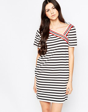 photo Striped T-shirt Dress with V Trim by See by Chloe, color Black and White - Image 1
