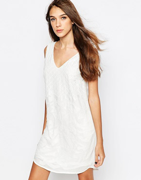 photo Beaded and Embroidered Shift Dress by See U Soon, color Off White - Image 1
