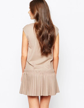 photo Dress with Drop Waist Pleated Skirt by See U Soon, color Beige - Image 2