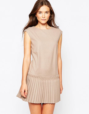 photo Dress with Drop Waist Pleated Skirt by See U Soon, color Beige - Image 1