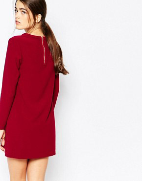 photo Shift Dress with Pocket Detail by See U Soon, color Wine - Image 2