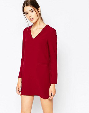 photo Shift Dress with Pocket Detail by See U Soon, color Wine - Image 1
